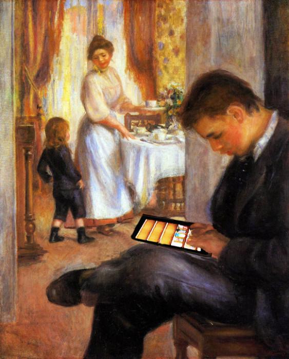 Renoir consulte sa bibliothèque numérique